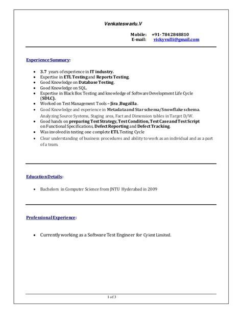 Etl Testing Resume by Etl Testing Resume Venkatesh