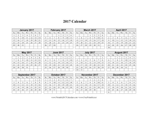 free printable 2017 calendar on one page printable 2017 calendar on one page horizontal grid