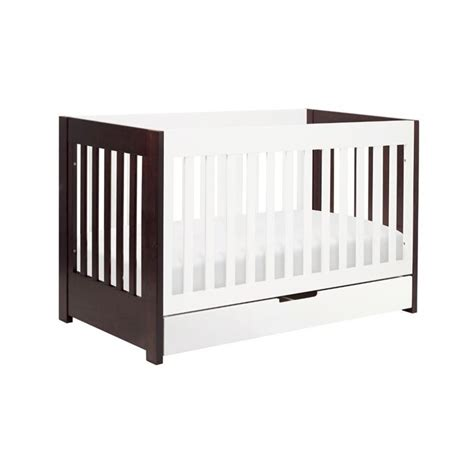 Two Tone Baby Crib Mercer 3 In 1 Convertible Wood Crib In Two Tone Espresso White M6801qw