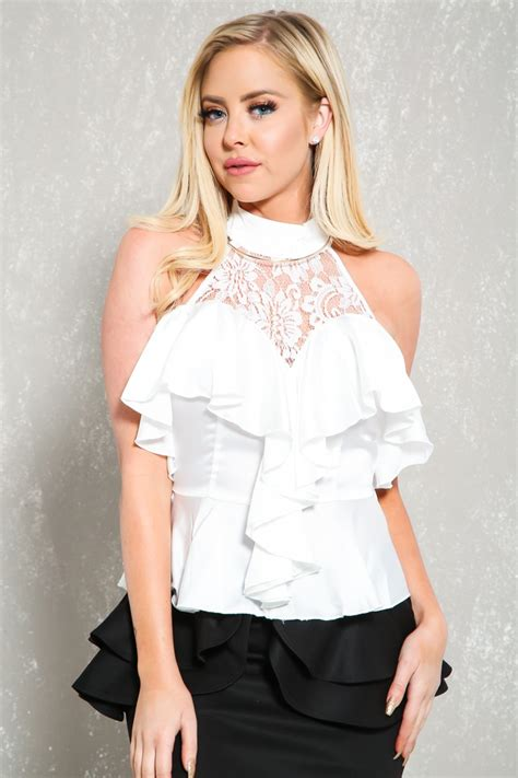 Dressy White Blouses With Ruffles by White Ruffle Dressy Top