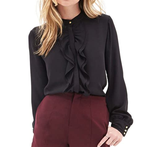 Black Blouse black chiffon blouse sleeve fashion ql
