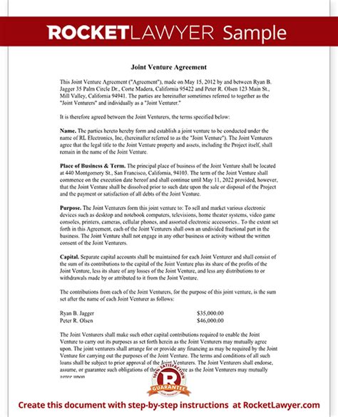 Jv Agreement Letter Joint Venture Agreement Template Joint Venture Contract With Sle