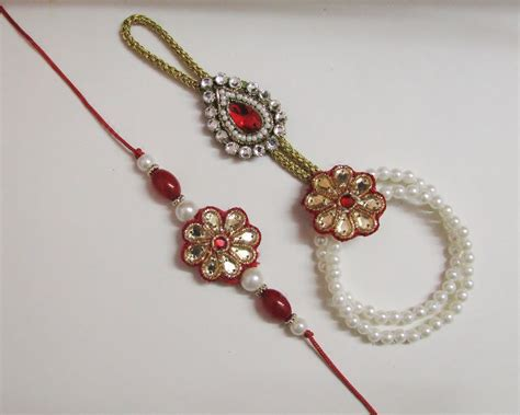 Handmade Rakhi Designs - pair rakhi with hathphool instead of traditional lumba