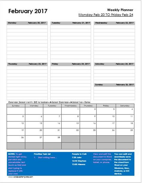 weekly planner template excel daily weekly monthly planner templates for ms word