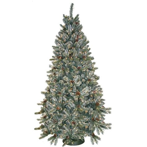 xmas trees frosted pull up general foam 7 5 ft pre lit siberian frosted pine artificial tree with clear lights
