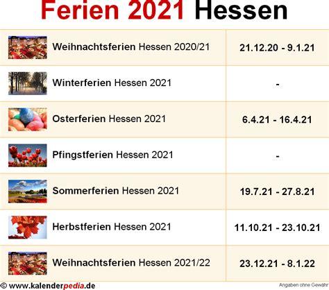 Kalender 2021 Bayern Ferien Hessen 2021 220 Bersicht Der Ferientermine