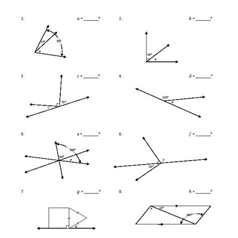 Adjacent Angles Worksheet eighth grade adjacent angles worksheet 05 one page