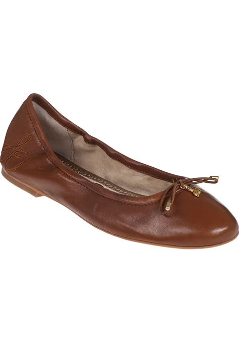 leather ballet flats sam edelman felicia ballet flat saddle leather in brown lyst