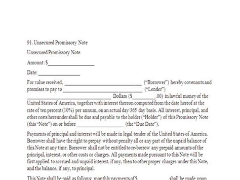 unsecured promissory note template unsecured promissory note freebusinesstemplates org
