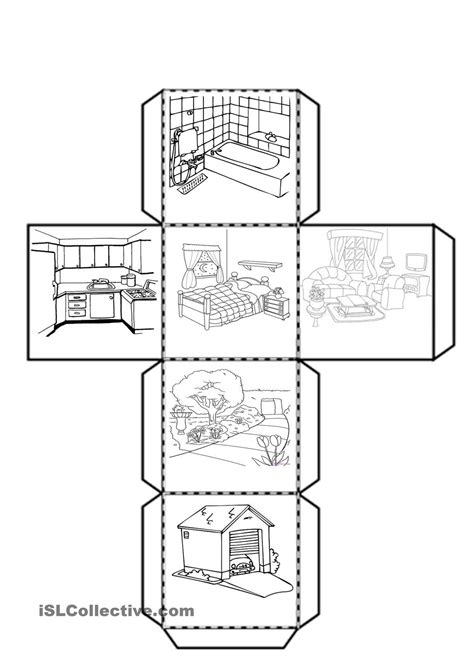 home design worksheet cube with the parts of the house worksheet free esl