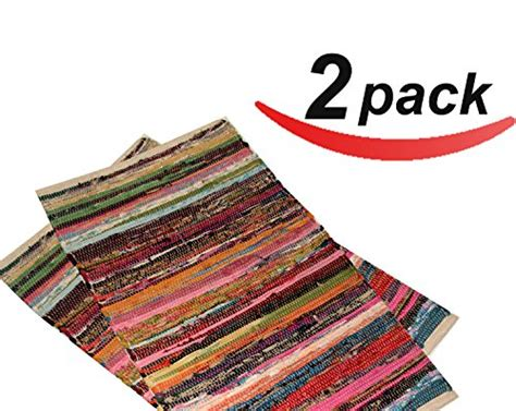 Vivien Area Rug by 2 Pack 20 Quot X31 5 Quot Cotton Rag Rug Multi Color Handmade Heavy Woven Premium Quality Branded
