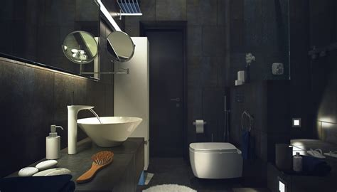 Dark Bathroom | casual loft style living interior design maxim zhukov dark