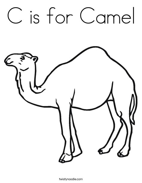 C Is For Camel Coloring Page Twisty Noodle Camel Coloring Page