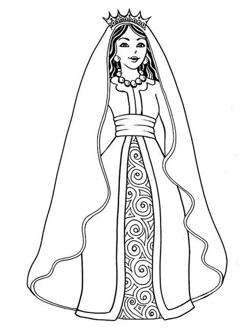 printable coloring pages of queen esther princess dress inspiration tir na nog interactive