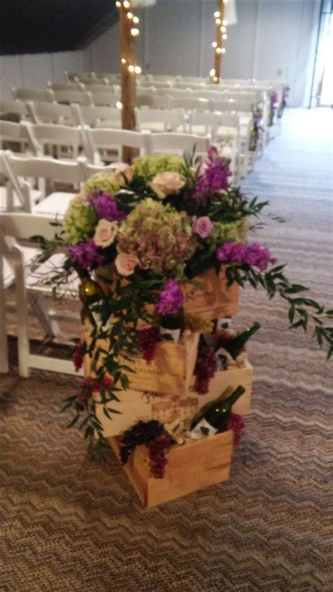 Wine themed wedding ceremony or reception arrangement with