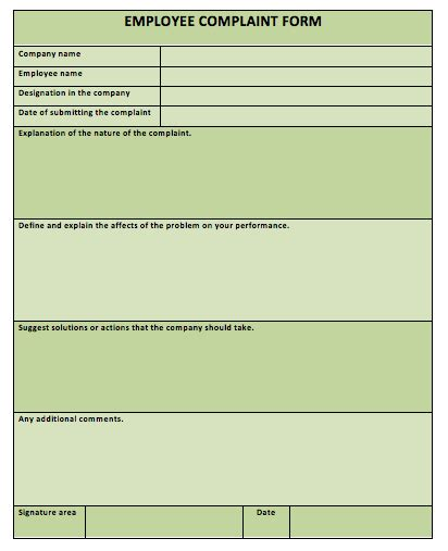 complaint form template employee images
