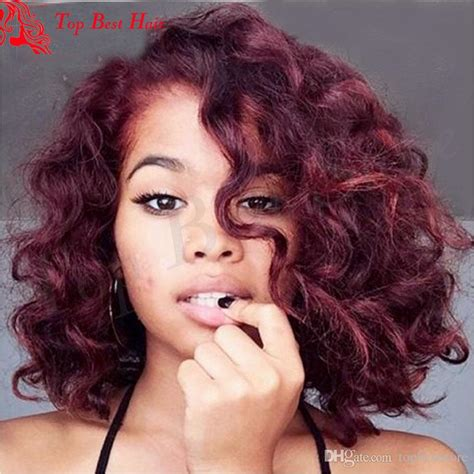 burgundy short messy bob short bob burgundy lace front wig 99j red curl human hair