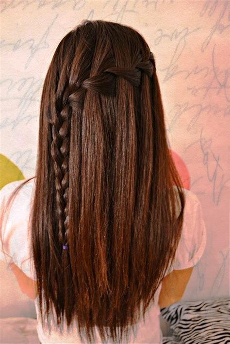 hairstyles for straight hair with braids step by step pictures of waterfall braid for long straight hair 1