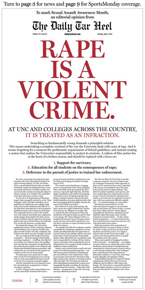 editorial section student newspaper at north carolina puts a full page