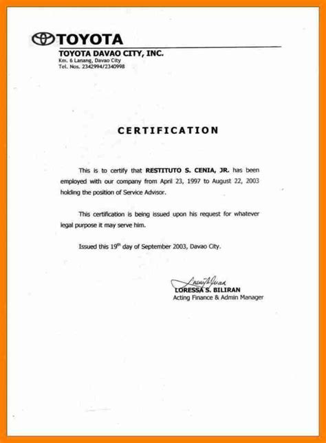 certification of employment letter with salary 6 sle of certificate of employment with salary