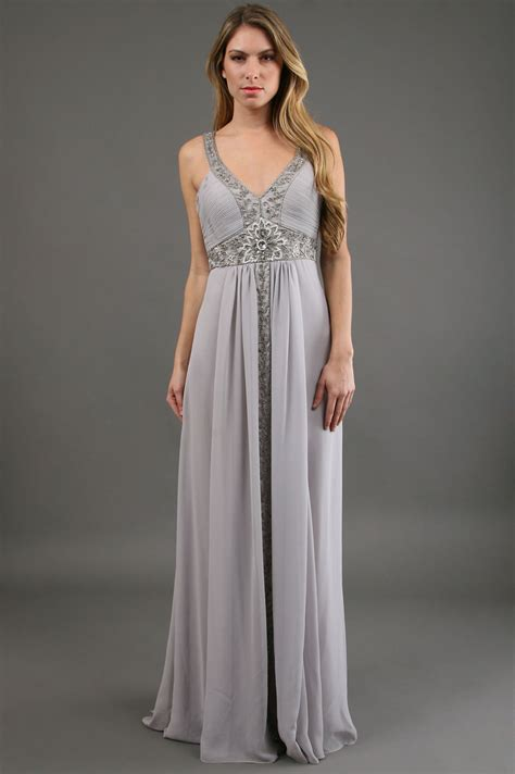grey beaded gown sue wong beaded grecian gown in gray lyst