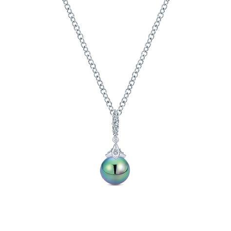 gabriel co jewelry white gold diamonds pearl necklace