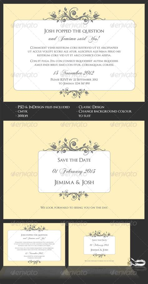 Classic Wedding Engagement Invite Save The Date Graphicriver Save The Date Indesign Template