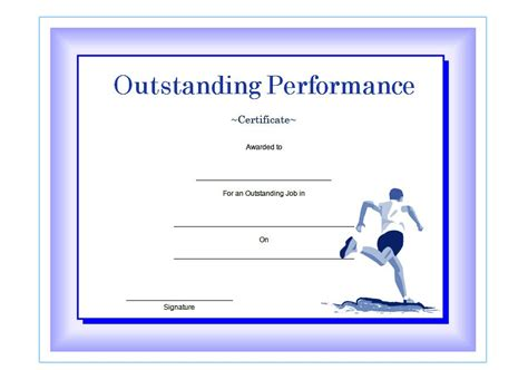 outstanding performance certificate template certificate of outstanding performance templates