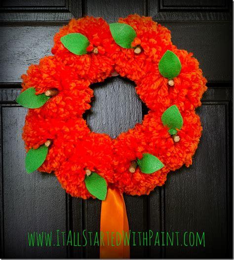 pom pom pumpkin wreath   started  paint