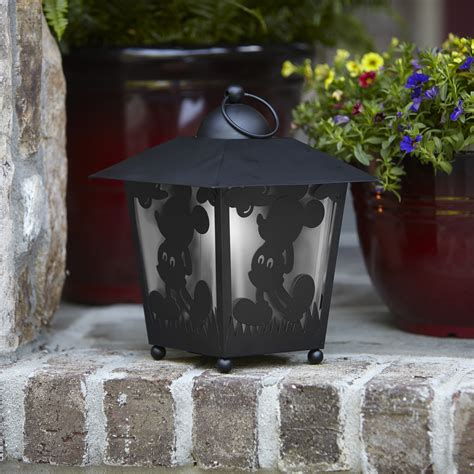 disney 13 quot mickey silhouette led lantern with led timer outdoor living outdoor lighting