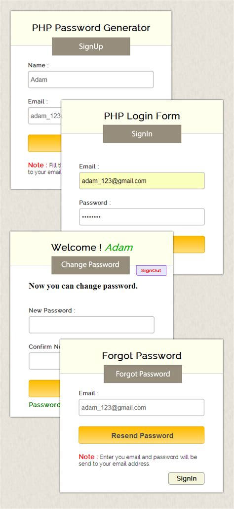 Php Auto Generate Password by Php Password Generator Script Formget