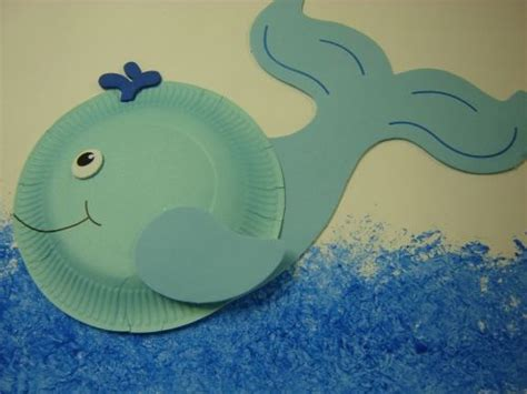 Paper Plate Whale Craft - dolphin craft idea for preschool preschool and kindergarten