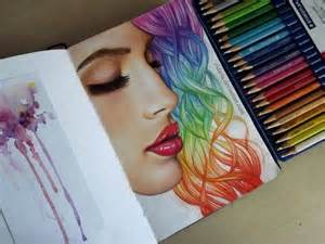 colored pencil hair colored hair drawings hair rainbow hair