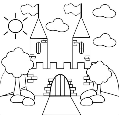 painting castles colouring pages page 2