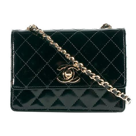 Quilted Chanel Handbag by Chanel Quilted Patent Leather Mini Flap Shoulder Handbag