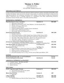Journeyman Electrician Sle Resume by Journeyman Electrician Resume Exles Ilivearticles Info