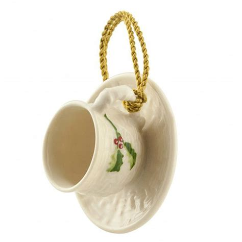 holly cup and saucer christmas ornament by belleek