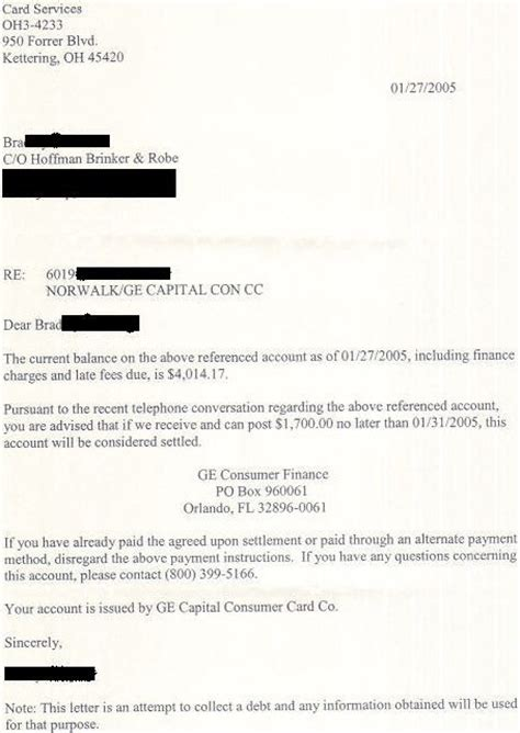 Ge Capital Settlement Letter Leave Debt Behind Get Out Of Debt Free Template Letters