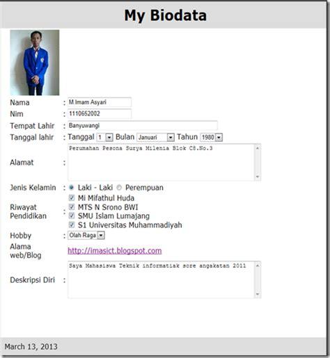 contoh format biodata taaruf sharing informasi membuat biodata pribadi dengan php html