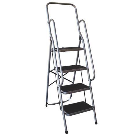 Ladder With Handrail charles bentley four step ladder with handrail buydirect4u