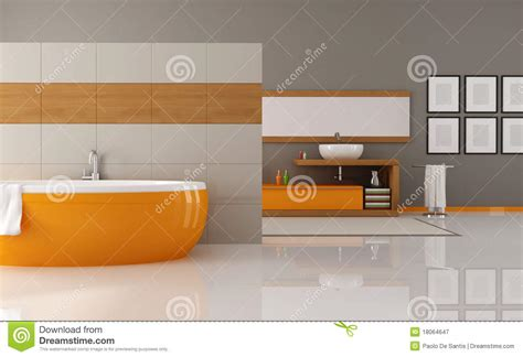 orange bathtub orange and brown bathroom stock illustration illustration