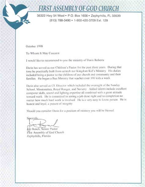 Recommendation Letter For To Minister Pastor Bunch Letter Of Recommendation
