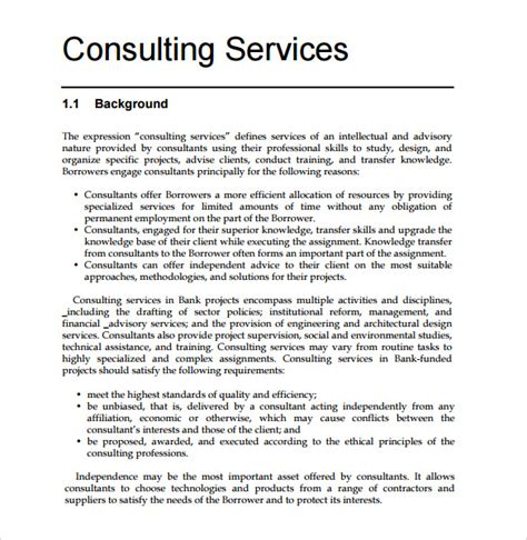 business consulting template sle consultant 9 documents in pdf word