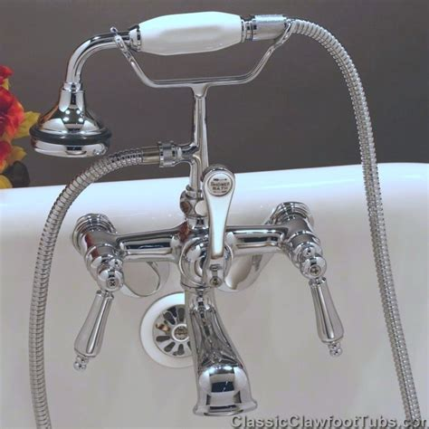clawfoot tub telephone faucet w held shower