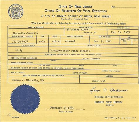 Records Nj New Jersey Counties Birth Certificate Record Vital