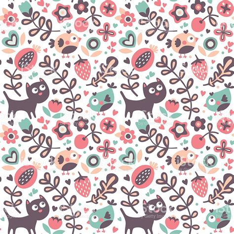 cute pattern cats seamless cute animal pattern cat bird flower leaf floral