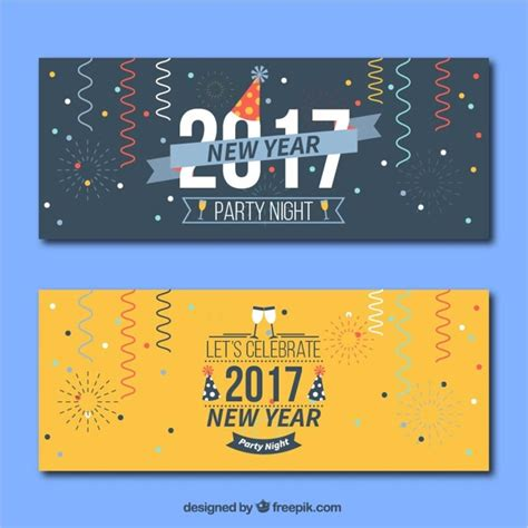 free vector new year banner 2017 new year banners with streamer vector free