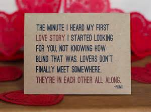 Love Quotes For Cards by Lovers Card Rumi Quote I Love You Romantic Valentine Card