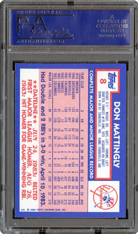 1984 Don Mattingly Topps by 1984 Topps Don Mattingly Psa Cardfacts