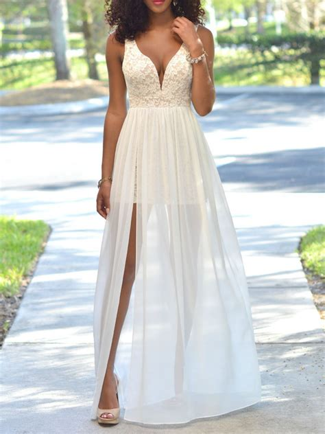 Lace Panel Tulle Dress white plunge sheer tulle panel lace backless prom dress